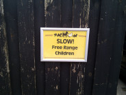 "I went looking for a copyright-free ""Free-Range Kids"" image and found this sign. And it was taken by the wonderful Cory Doctorow!"