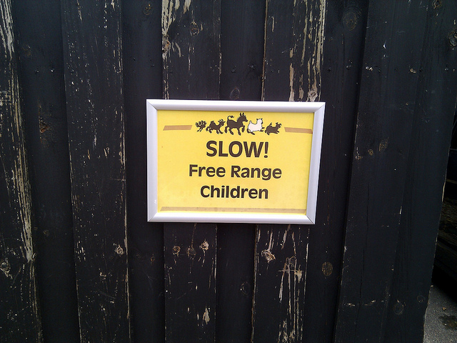 """I went looking for a copyright-free """"Free-Range Kids"""" image and found this sign. And it was taken by the wonderful Cory Doctorow!"""