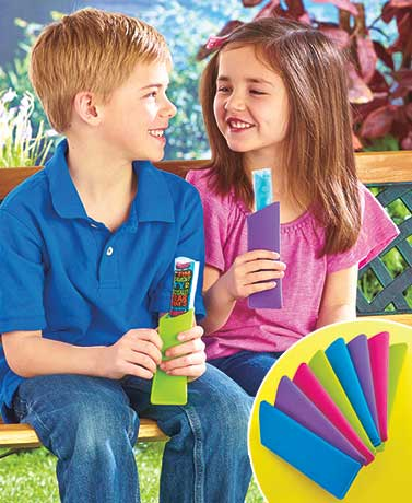 As the product description reads: Keep their little hands warm and clean while they eat their favorite frozen treat with this Set of 8 Freezie Mitts. Each mitt is soft and flexible to fit most children's hands. Thick sleeves hold freezer pops, frozen yogurt and more.