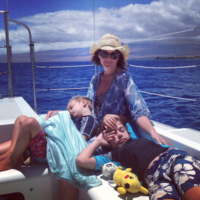Conran and her boys, safe and sound. (But on a BOAT! ANYTHING could happen!)