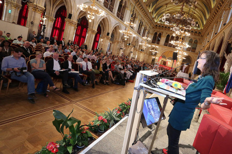 Lenore speaking in Vienna (in Europe's second largest room!).