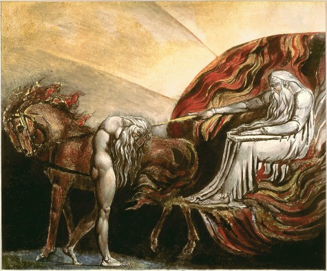 Here's God judging Adam. But at least it's not on Facebook. (Courtesy of William Blake)