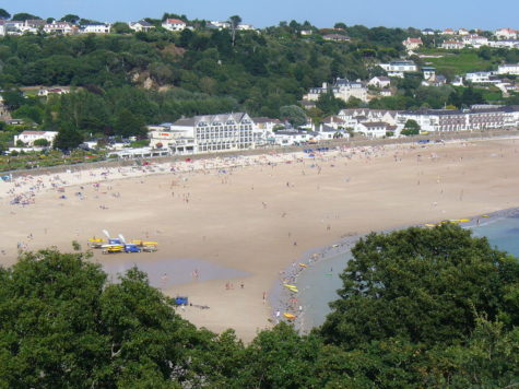 St. Brelade's Bay, Jersey, England, at low tide.
