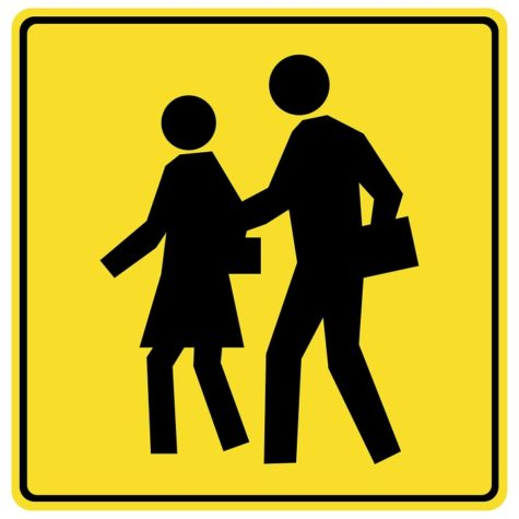 """Didn't """"School Crossing"""" signs used to have younger looking silhouettes?"""