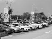Park Auto Parking Parking Lot Black White Cars